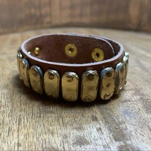 NEW Brown and Gold Tone Leather Bracelet
